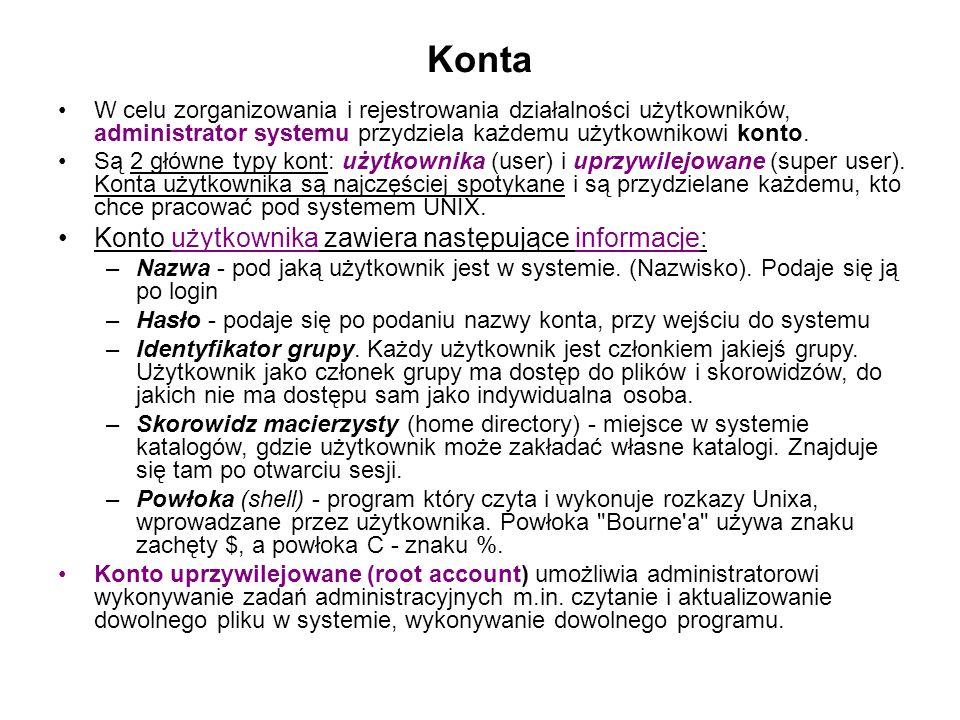 Konta W celu zorganizowania i rejestrowania działalności użytkowników, administrator systemu przydziela każdemu użytkownikowi konto.