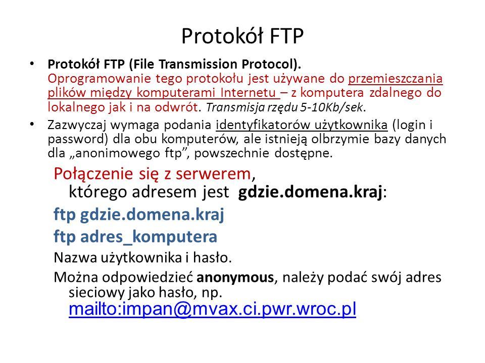 Protokół FTP Protokół FTP (File Transmission Protocol).