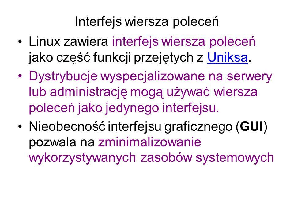 Interfejs wiersza poleceń Linux zawiera interfejs wiersza poleceń jako część funkcji przejętych z Uniksa.Uniksa Dystrybucje wyspecjalizowane na serwery lub administrację mogą używać wiersza poleceń jako jedynego interfejsu.