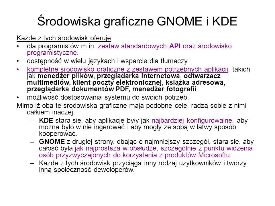 Środowiska graficzne GNOME i KDE Każde z tych środowisk oferuje: dla programistów m.in.
