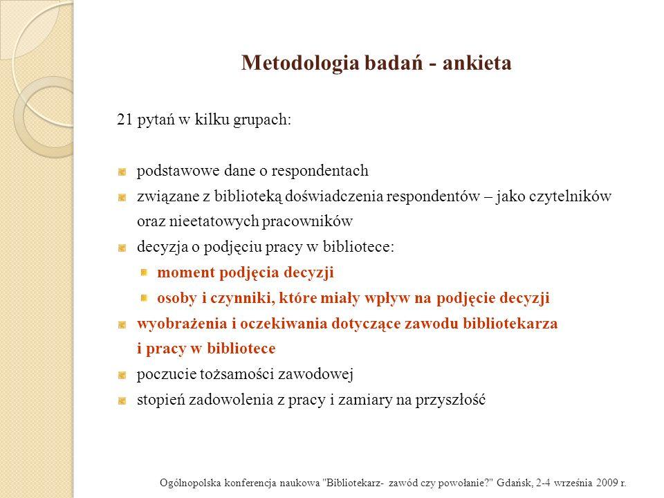 Zadowolenie z pracy w bibliotece a wykształcenie (w %) Ogólnopolska konferencja naukowa Bibliotekarz- zawód czy powołanie? Gdańsk, 2-4 września 2009 r.
