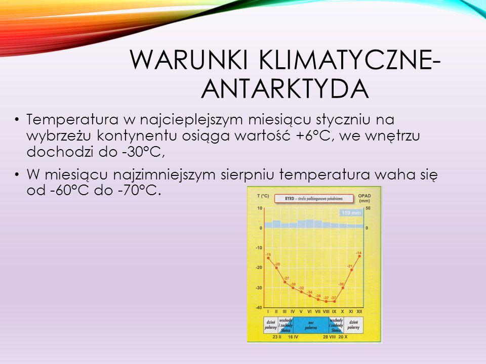 WARUNKI KLIMATYCZNE- ARKTYKA W miesiącu najcieplejszym lipcu, temperatura na wybrzeżu waha się od 0°C do +10°C, we wnętrzu Grenlandii osiąga wartość -20°C, W miesiącu najzimniejszym styczniu, temperatura osiąga wartości od -30°C do -50°C, Opady wokół biegunów wynoszą od 100 do 250mm i występują w postaci stałej.