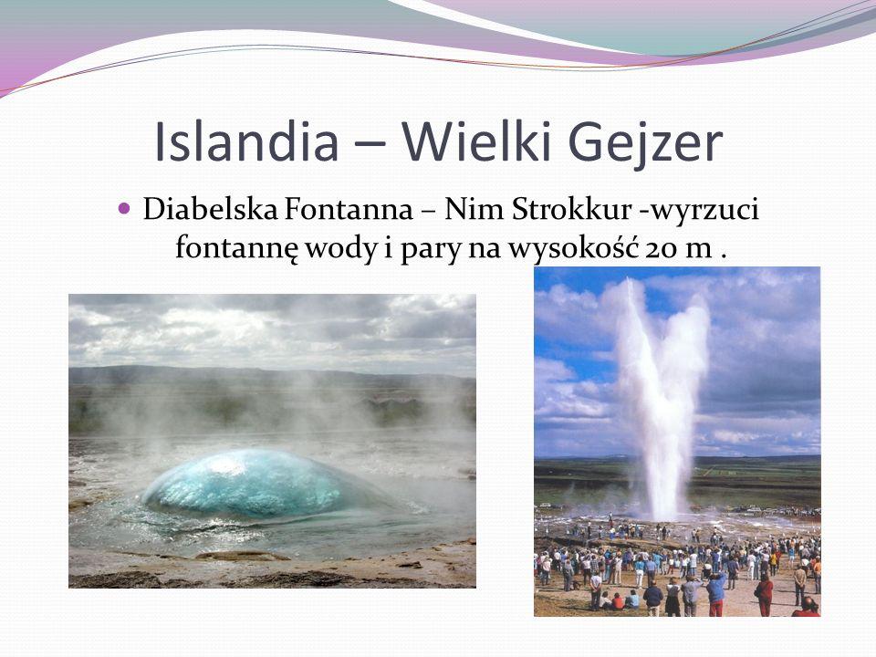Islandia – Wielki Gejzer Diabelska Fontanna – Nim Strokkur -wyrzuci fontannę wody i pary na wysokość 20 m.