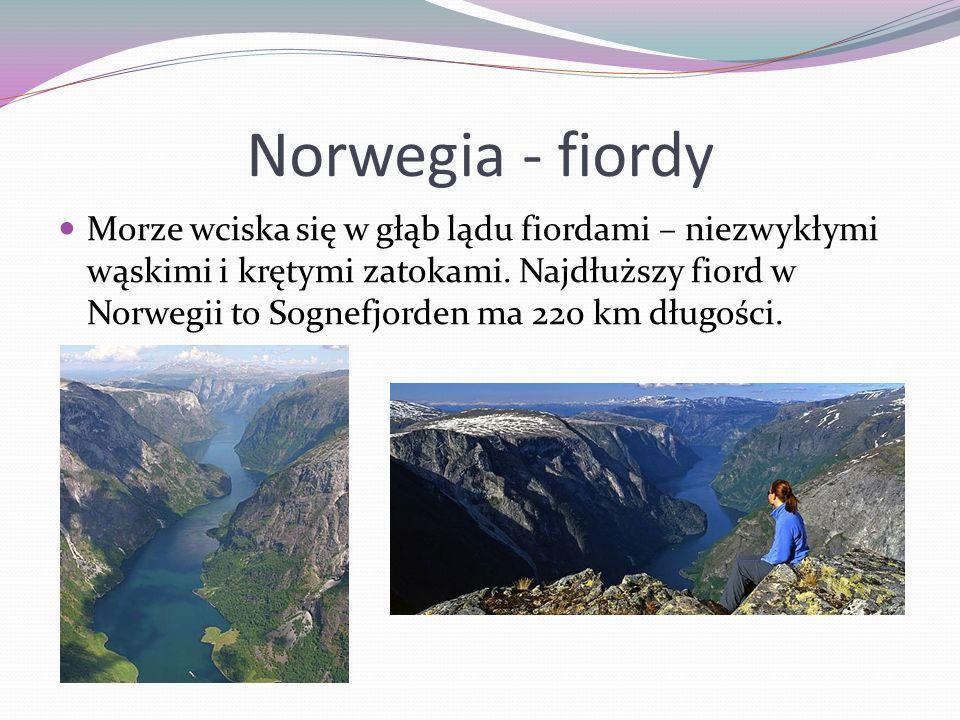 Norwegia - fiordy Morze wciska się w głąb lądu fiordami – niezwykłymi wąskimi i krętymi zatokami. Najdłuższy fiord w Norwegii to Sognefjorden ma 220 k