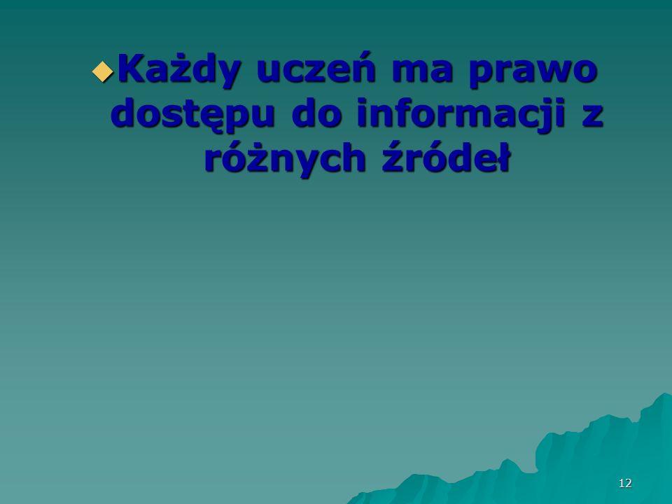 12 Każdy uczeń ma prawo dostępu do informacji z różnych źródeł Każdy uczeń ma prawo dostępu do informacji z różnych źródeł