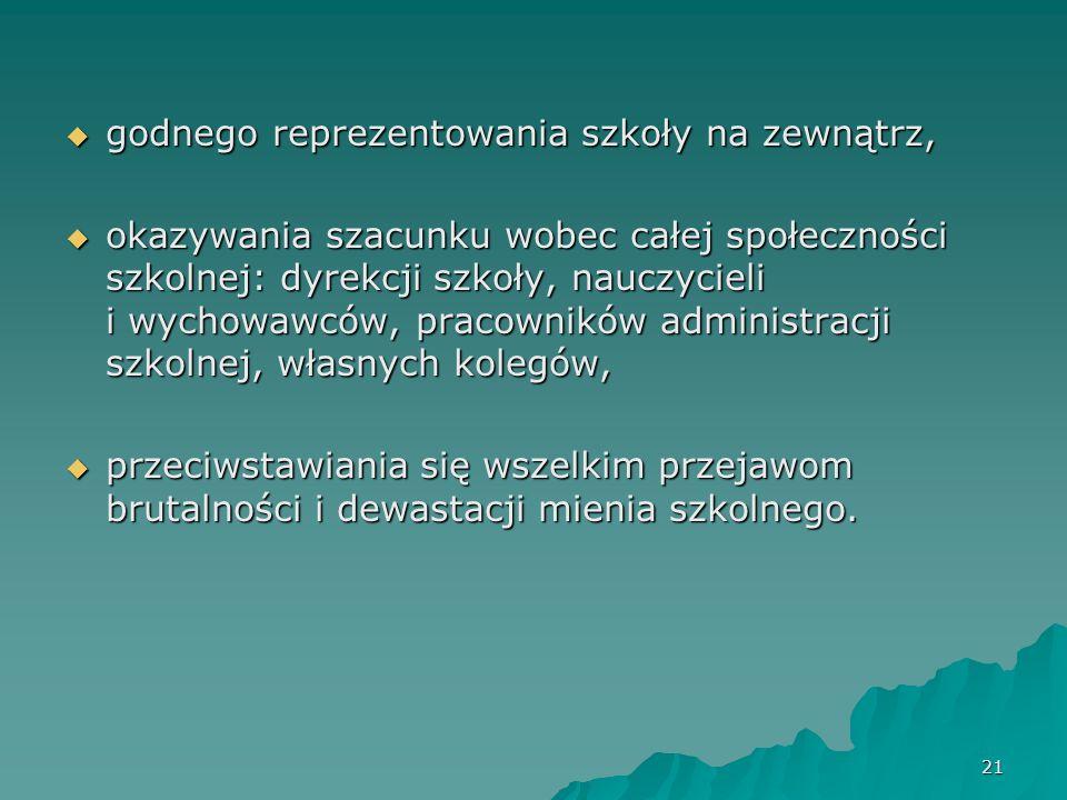 21 godnego reprezentowania szkoły na zewnątrz, godnego reprezentowania szkoły na zewnątrz, okazywania szacunku wobec całej społeczności szkolnej: dyre