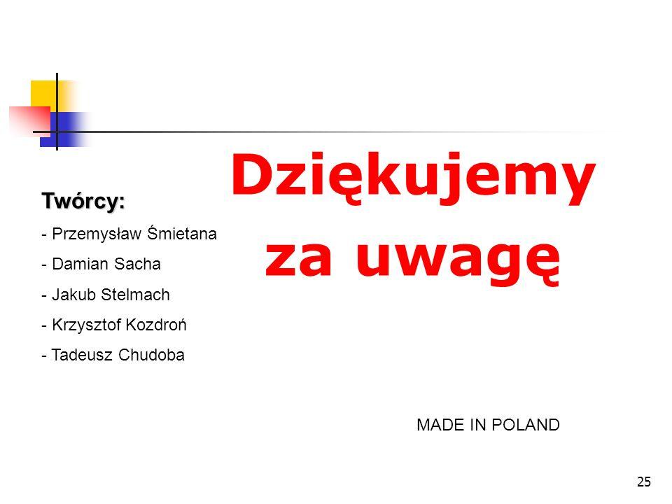 25 Dziękujemy za uwagę MADE IN POLAND Twórcy: - Przemysław Śmietana - Damian Sacha - Jakub Stelmach - Krzysztof Kozdroń - Tadeusz Chudoba