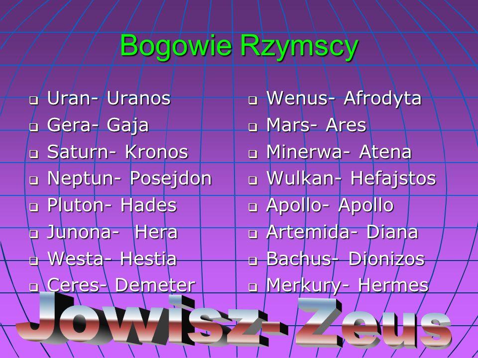 Bogowie Rzymscy Uran- Uranos Uran- Uranos Gera- Gaja Gera- Gaja Saturn- Kronos Saturn- Kronos Neptun- Posejdon Neptun- Posejdon Pluton- Hades Pluton-