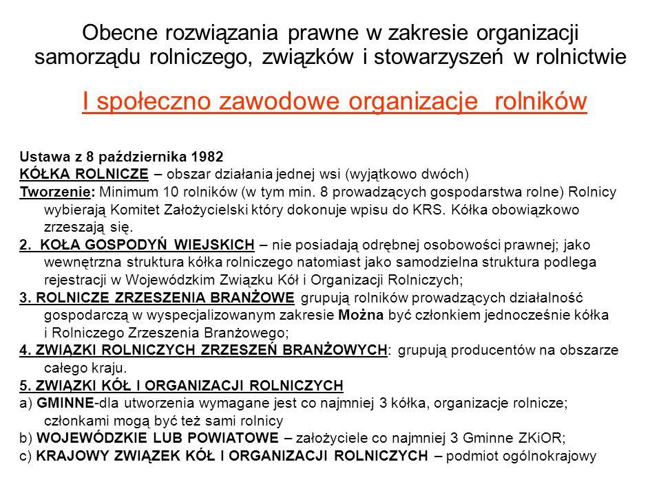 Obecne rozwiązania prawne w zakresie organizacji samorządu rolniczego, związków i stowarzyszeń w rolnictwie I społeczno zawodowe organizacje rolników Ustawa z 8 października 1982 KÓŁKA ROLNICZE – obszar działania jednej wsi (wyjątkowo dwóch) Tworzenie: Minimum 10 rolników (w tym min.