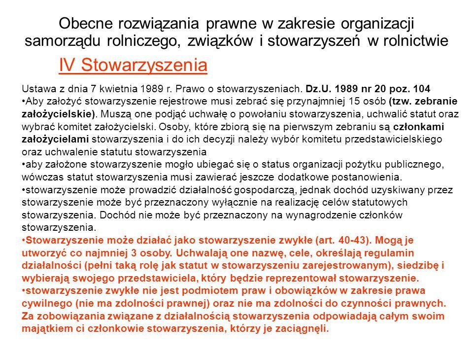 Obecne rozwiązania prawne w zakresie organizacji samorządu rolniczego, związków i stowarzyszeń w rolnictwie IV Stowarzyszenia Ustawa z dnia 7 kwietnia 1989 r.
