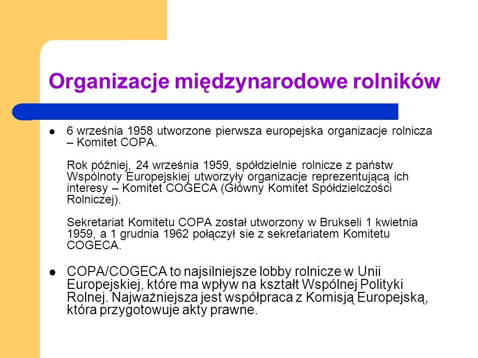 Organizacje międzynarodowe rolników 6 września 1958 utworzone pierwsza europejska organizacje rolnicza – Komitet COPA.