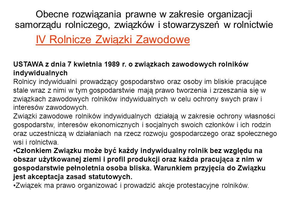 Obecne rozwiązania prawne w zakresie organizacji samorządu rolniczego, związków i stowarzyszeń w rolnictwie IV Rolnicze Związki Zawodowe USTAWA z dnia 7 kwietnia 1989 r.