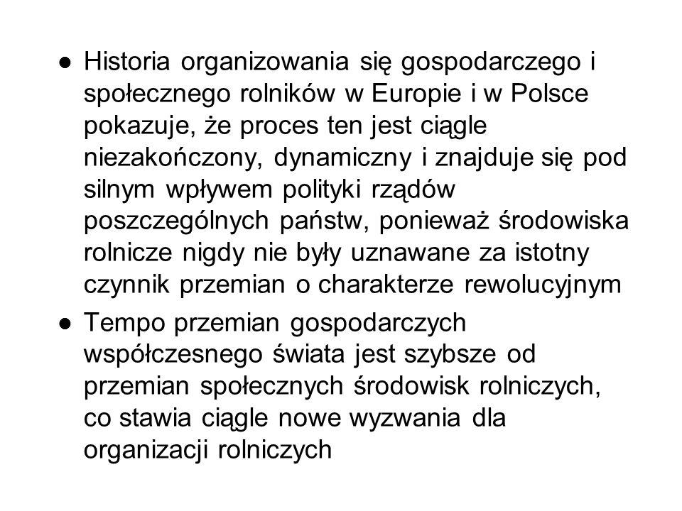 Historia organizowania się gospodarczego i społecznego rolników w Europie i w Polsce pokazuje, że proces ten jest ciągle niezakończony, dynamiczny i znajduje się pod silnym wpływem polityki rządów poszczególnych państw, ponieważ środowiska rolnicze nigdy nie były uznawane za istotny czynnik przemian o charakterze rewolucyjnym Tempo przemian gospodarczych współczesnego świata jest szybsze od przemian społecznych środowisk rolniczych, co stawia ciągle nowe wyzwania dla organizacji rolniczych