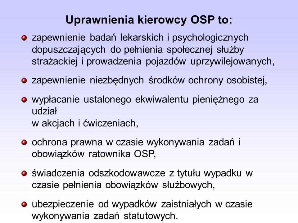 zapewnienie badań lekarskich i psychologicznych dopuszczających do pełnienia społecznej służby strażackiej i prowadzenia pojazdów uprzywilejowanych, zapewnienie niezbędnych środków ochrony osobistej, wypłacanie ustalonego ekwiwalentu pieniężnego za udział w akcjach i ćwiczeniach, ochrona prawna w czasie wykonywania zadań i obowiązków ratownika OSP, świadczenia odszkodowawcze z tytułu wypadku w czasie pełnienia obowiązków służbowych, ubezpieczenie od wypadków zaistniałych w czasie wykonywania zadań statutowych.