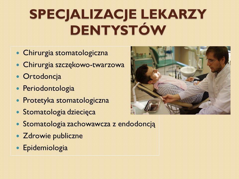 SPECJALIZACJE LEKARZY DENTYSTÓW Chirurgia stomatologiczna Chirurgia szczękowo-twarzowa Ortodoncja Periodontologia Protetyka stomatologiczna Stomatolog