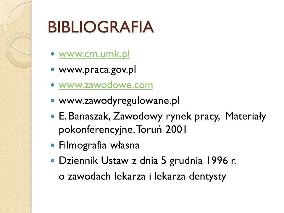 BIBLIOGRAFIA www.cm.umk.pl www.praca.gov.pl www.zawodowe.com www.zawodyregulowane.pl E. Banaszak, Zawodowy rynek pracy, Materiały pokonferencyjne, Tor