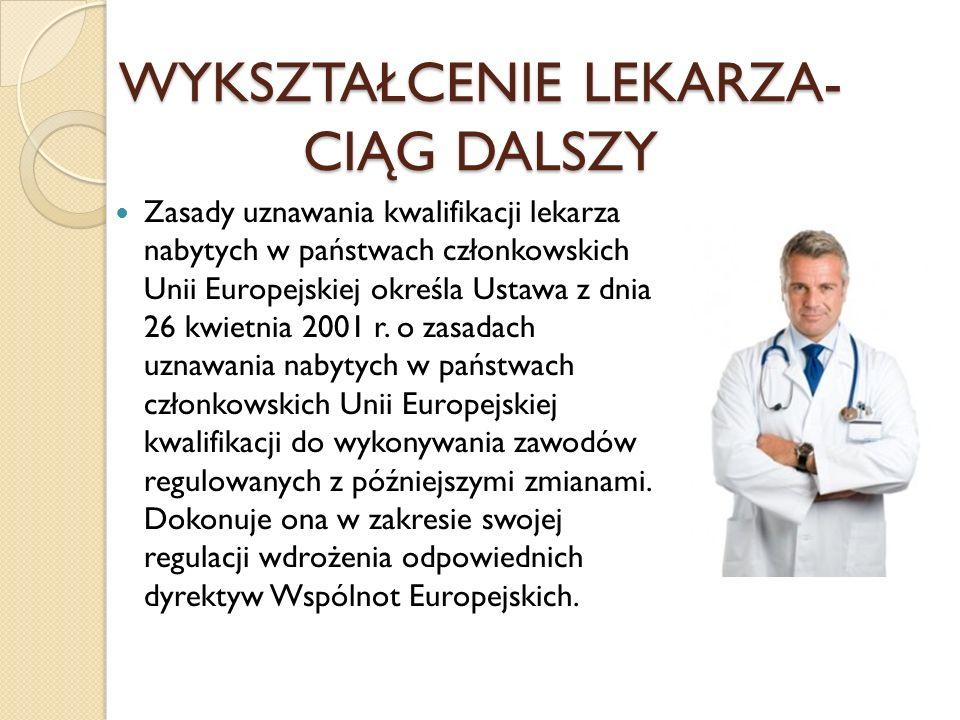 WYKSZTAŁCENIE LEKARZA- CIĄG DALSZY Zasady uznawania kwalifikacji lekarza nabytych w państwach członkowskich Unii Europejskiej określa Ustawa z dnia 26