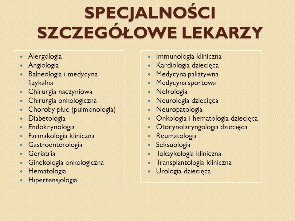 SPECJALNOŚCI SZCZEGÓŁOWE LEKARZY Alergologia Angiologia Balneologia i medycyna fizykalna Chirurgia naczyniowa Chirurgia onkologiczna Choroby płuc (pul