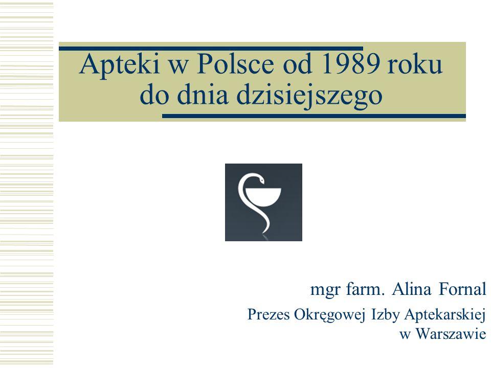 Apteki w Polsce od 1989 roku do dnia dzisiejszego mgr farm.