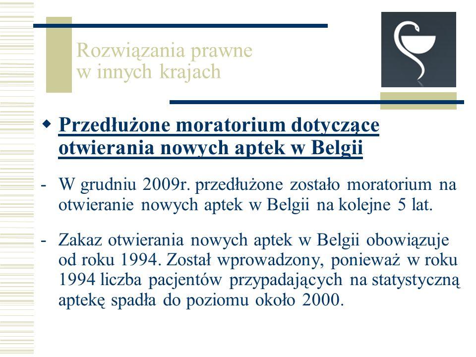 Przedłużone moratorium dotyczące otwierania nowych aptek w Belgii -W grudniu 2009r.