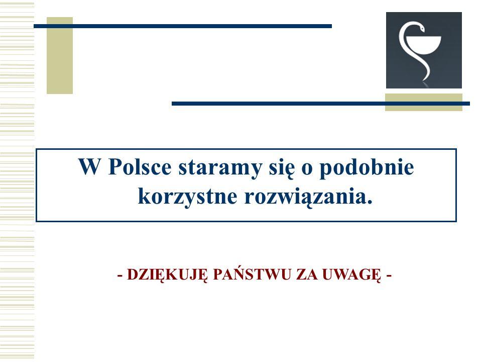 W Polsce staramy się o podobnie korzystne rozwiązania. - DZIĘKUJĘ PAŃSTWU ZA UWAGĘ -