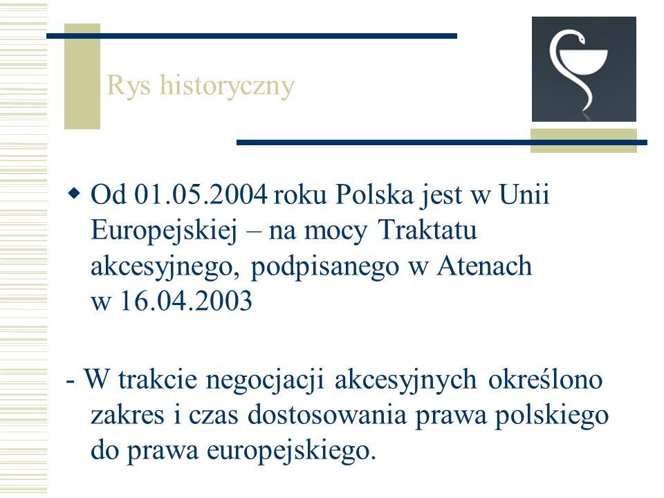 Od 01.05.2004 roku Polska jest w Unii Europejskiej – na mocy Traktatu akcesyjnego, podpisanego w Atenach w 16.04.2003 - W trakcie negocjacji akcesyjnych określono zakres i czas dostosowania prawa polskiego do prawa europejskiego.
