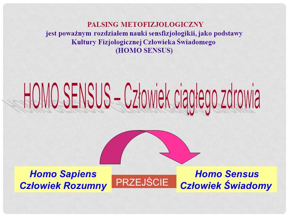 PRZEJŚCIE Homo Sapiens Człowiek Rozumny Homo Sensus Człowiek Świadomy PALSING METOFIZJOLOGICZNY jest poważnym rozdziałem nauki sensfizjologikii, jako