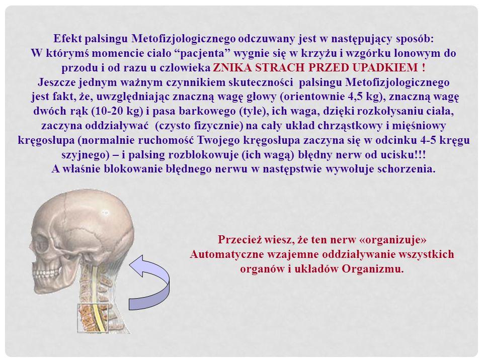 Efekt palsingu Metofizjologicznego odczuwany jest w następujący sposób: W którymś momencie ciało pacjenta wygnie się w krzyżu i wzgórku lonowym do prz