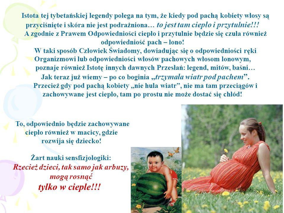 Istota tej tybetańskiej legendy polega na tym, że kiedy pod pachą kobiety włosy są przyciśnięte i skóra nie jest podrażniona… to jest tam ciepło i prz