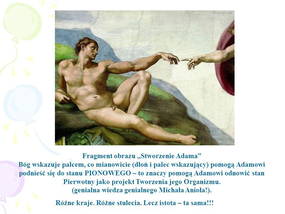 Fragment obrazu Stworzenie Adama Bóg wskazuje palcem, co mianowicie (dłoń i palec wskazujący) pomogą Adamowi podnieść się do stanu PIONOWEGO – to znac