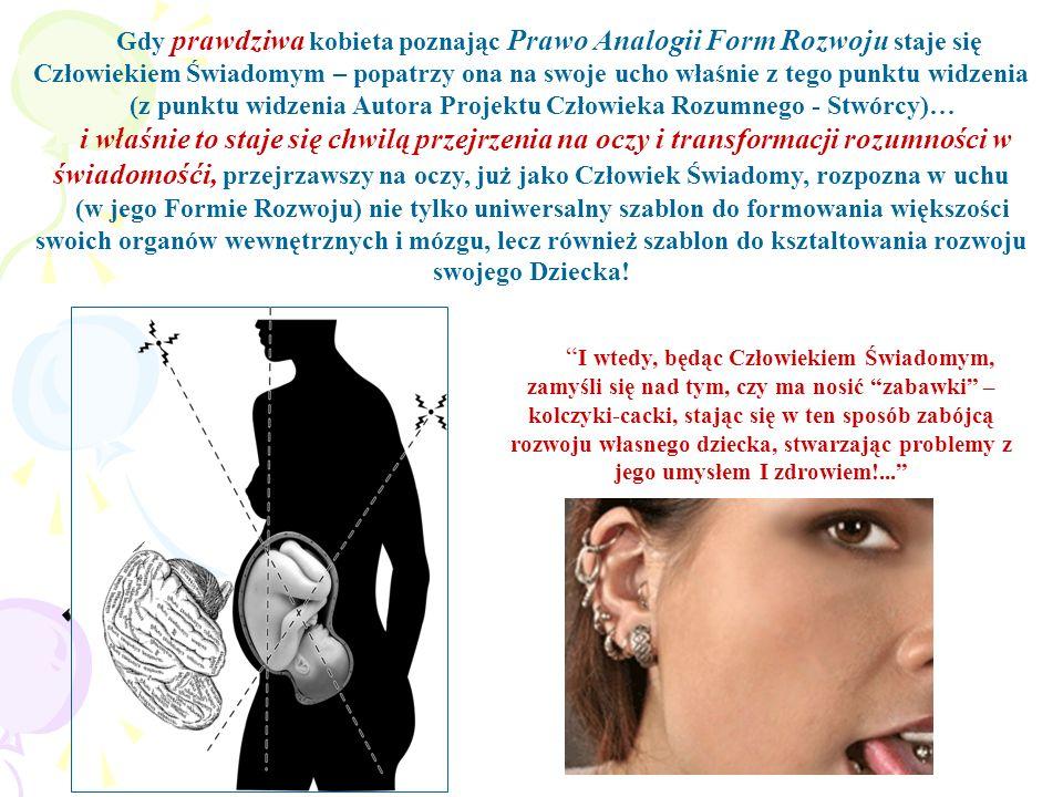 Gdy prawdziwa kobieta poznając Prawo Analogii Form Rozwoju staje się Człowiekiem Świadomym – popatrzy ona na swoje ucho właśnie z tego punktu widzenia
