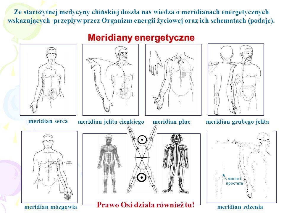 Meridiany energetyczne Ze starożytnej medycyny chińskiej doszła nas wiedza o meridianach energetycznych wskazujących przepływ przez Organizm energii ż