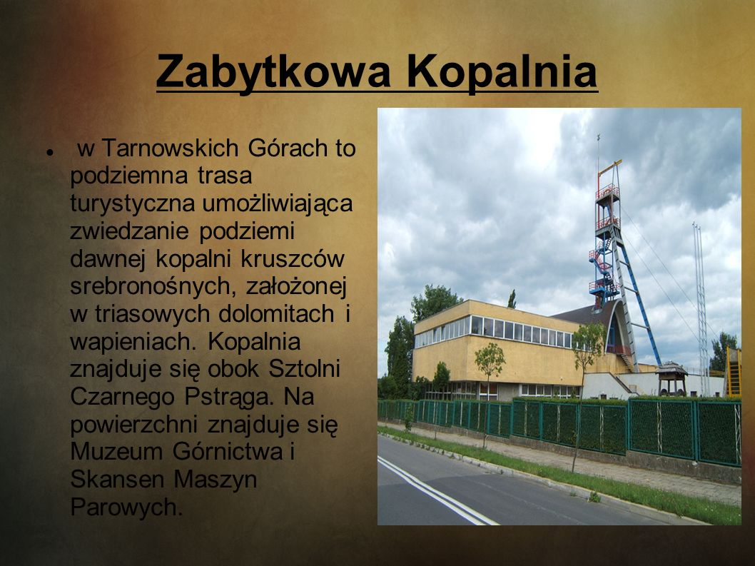 Zabytkowa Kopalnia w Tarnowskich Górach to podziemna trasa turystyczna umożliwiająca zwiedzanie podziemi dawnej kopalni kruszców srebronośnych, założo