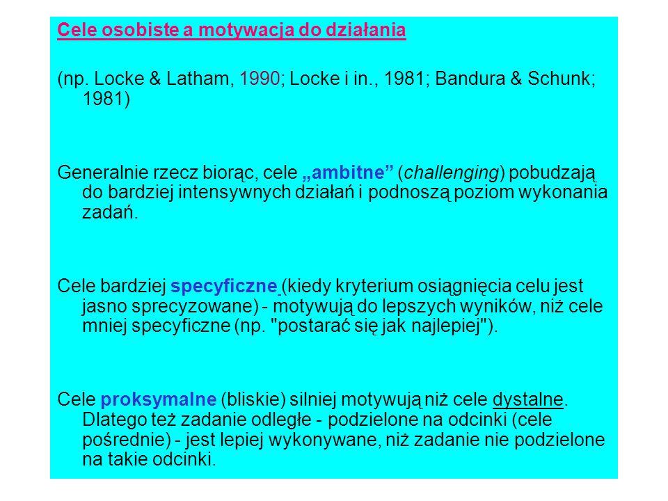 Cele osobiste a motywacja do działania (np. Locke & Latham, 1990; Locke i in., 1981; Bandura & Schunk; 1981) Generalnie rzecz biorąc, cele ambitne (ch