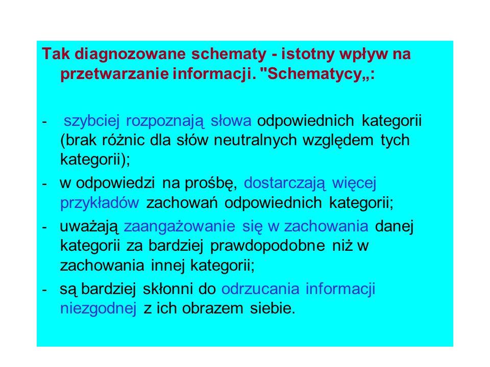 Tak diagnozowane schematy - istotny wpływ na przetwarzanie informacji.