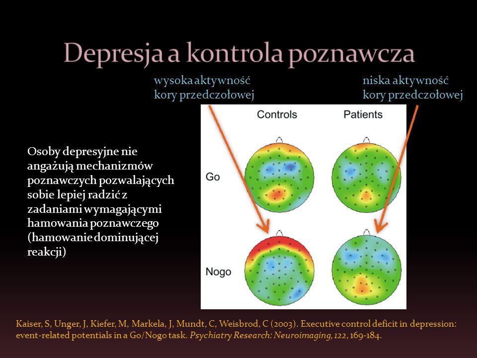 wysoka aktywność kory przedczołowej niska aktywność kory przedczołowej Kaiser, S, Unger, J, Kiefer, M, Markela, J, Mundt, C, Weisbrod, C (2003). Execu