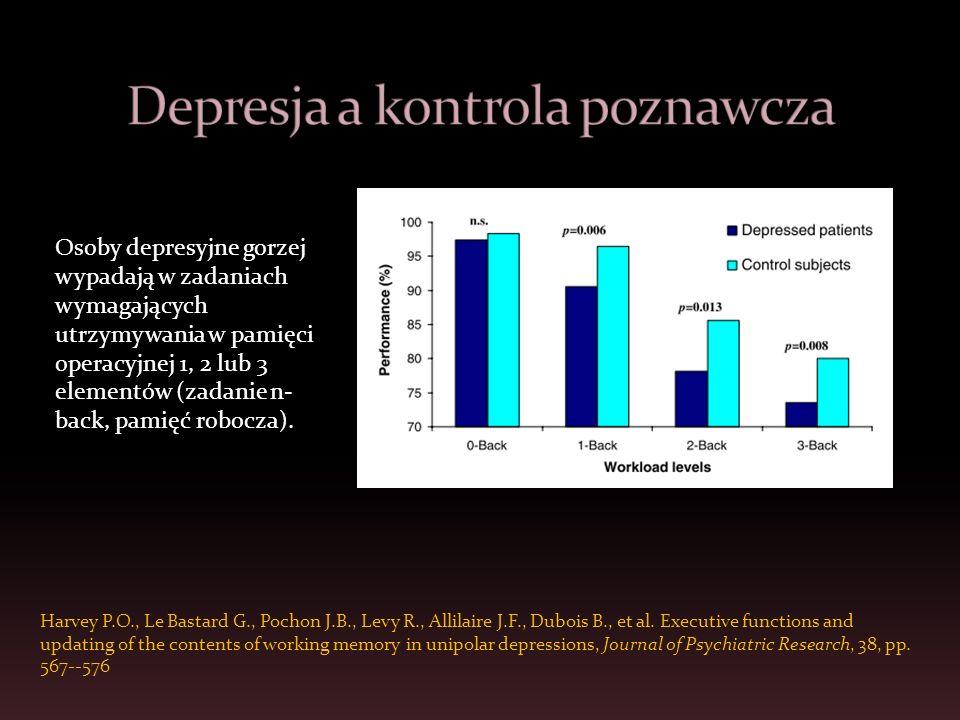 Osoby w nastroju negatywnym wypadły gorzej w zadaniu n-back niż osoby w nastroju pozytywnym (Gray i in., 2002; Koch i in., 2007) Osoby smutne postrzegają zadania poznawcze jako trudniejsze niż osoby wesołe (Gendolla, 2007) Osoby smutne wykazują gorsze efekty uczenia się w zadaniach poznawczych niż osoby wesołe (Brand, Reimer, Opwis, 2007) Podobnych rezultatów jest raczej mało – czy nastrój ma zatem wpływ na rozumowanie.