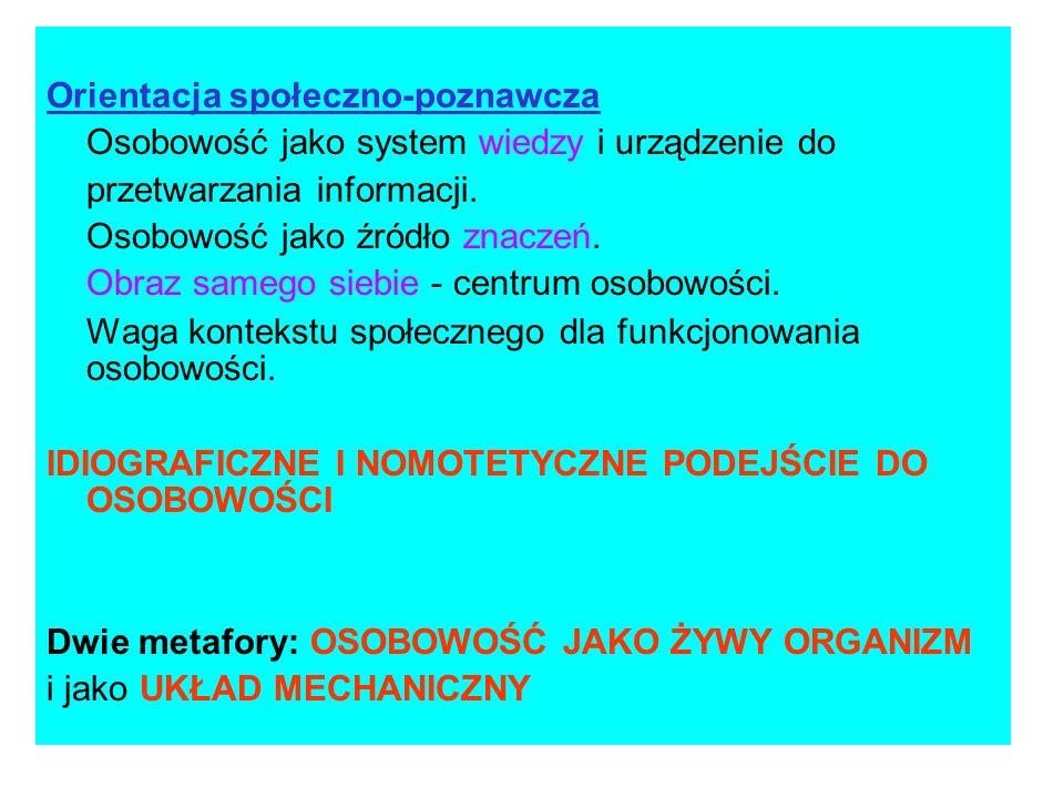 Orientacja społeczno-poznawcza Osobowość jako system wiedzy i urządzenie do przetwarzania informacji. Osobowość jako źródło znaczeń. Obraz samego sieb