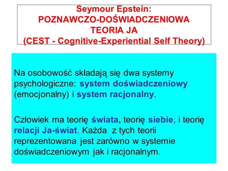 Seymour Epstein: POZNAWCZO-DOŚWIADCZENIOWA TEORIA JA (CEST - Cognitive-Experiential Self Theory) Na osobowość składają się dwa systemy psychologiczne: