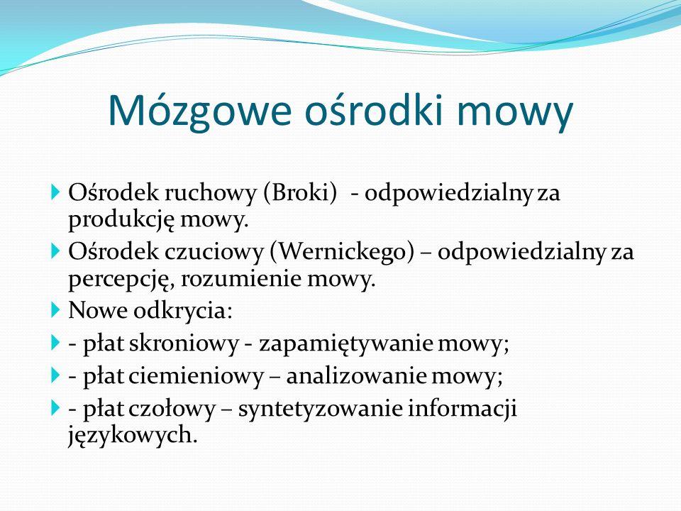Ośrodek ruchowy (Broki) - odpowiedzialny za produkcję mowy. Ośrodek czuciowy (Wernickego) – odpowiedzialny za percepcję, rozumienie mowy. Nowe odkryci