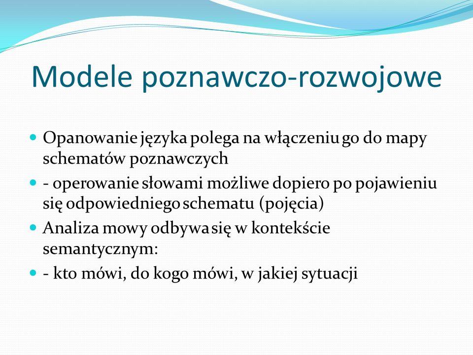 Modele poznawczo-rozwojowe Opanowanie języka polega na włączeniu go do mapy schematów poznawczych - operowanie słowami możliwe dopiero po pojawieniu s