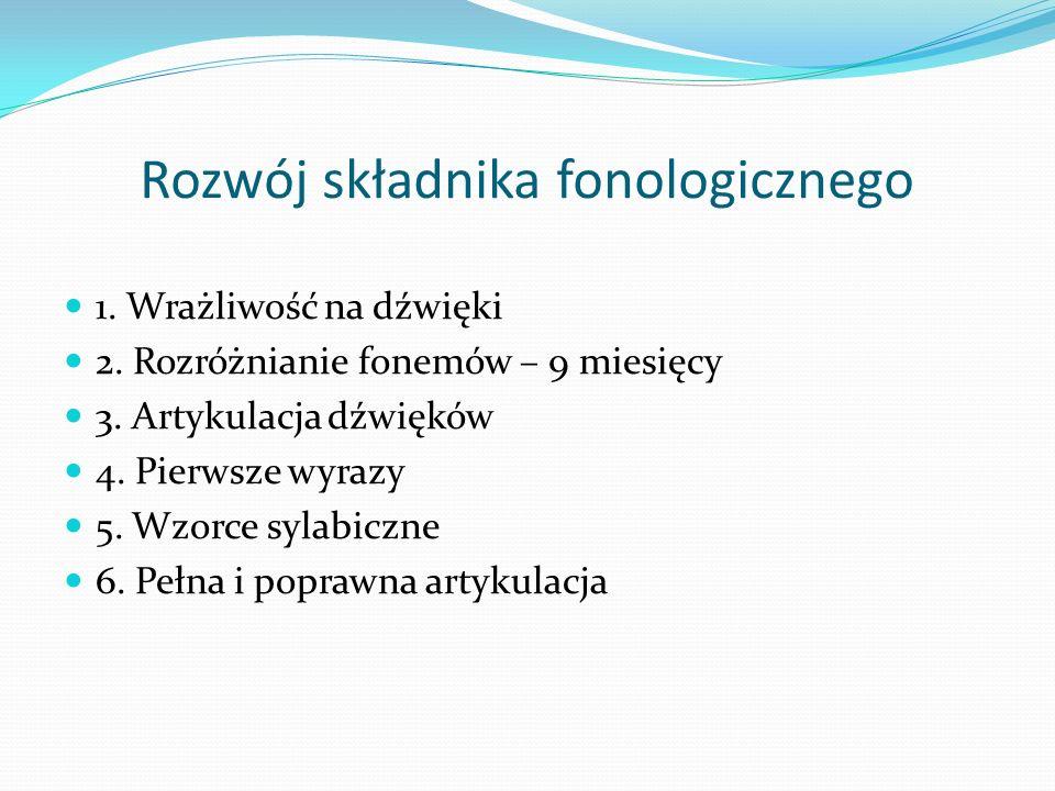 Rozwój składnika fonologicznego 1. Wrażliwość na dźwięki 2. Rozróżnianie fonemów – 9 miesięcy 3. Artykulacja dźwięków 4. Pierwsze wyrazy 5. Wzorce syl