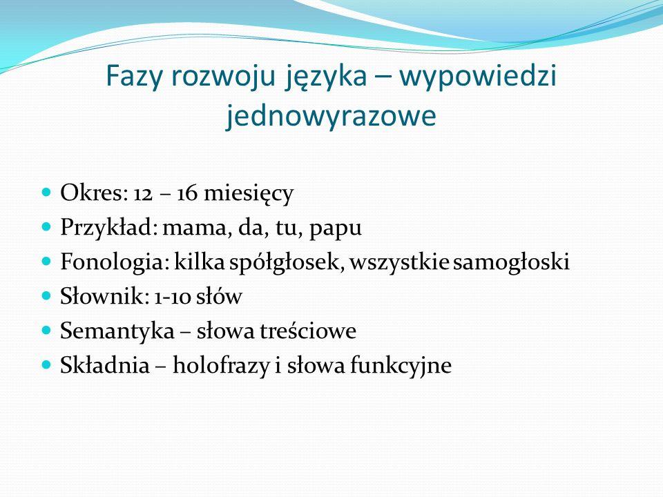 Fazy rozwoju języka – wypowiedzi jednowyrazowe Okres: 12 – 16 miesięcy Przykład: mama, da, tu, papu Fonologia: kilka spółgłosek, wszystkie samogłoski