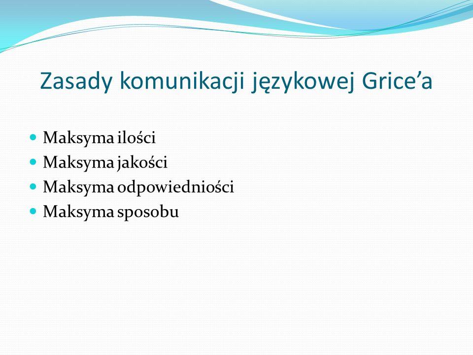 Zasady komunikacji językowej Gricea Maksyma ilości Maksyma jakości Maksyma odpowiedniości Maksyma sposobu