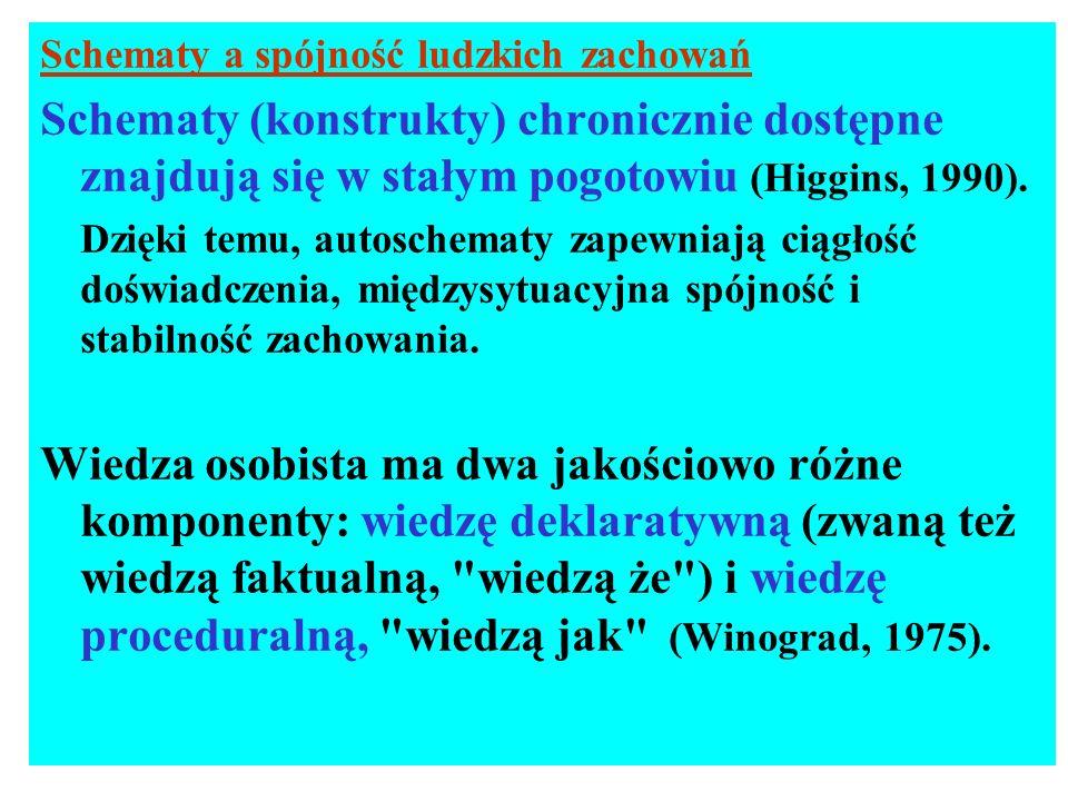 Schematy a spójność ludzkich zachowań Schematy (konstrukty) chronicznie dostępne znajdują się w stałym pogotowiu (Higgins, 1990). Dzięki temu, autosch