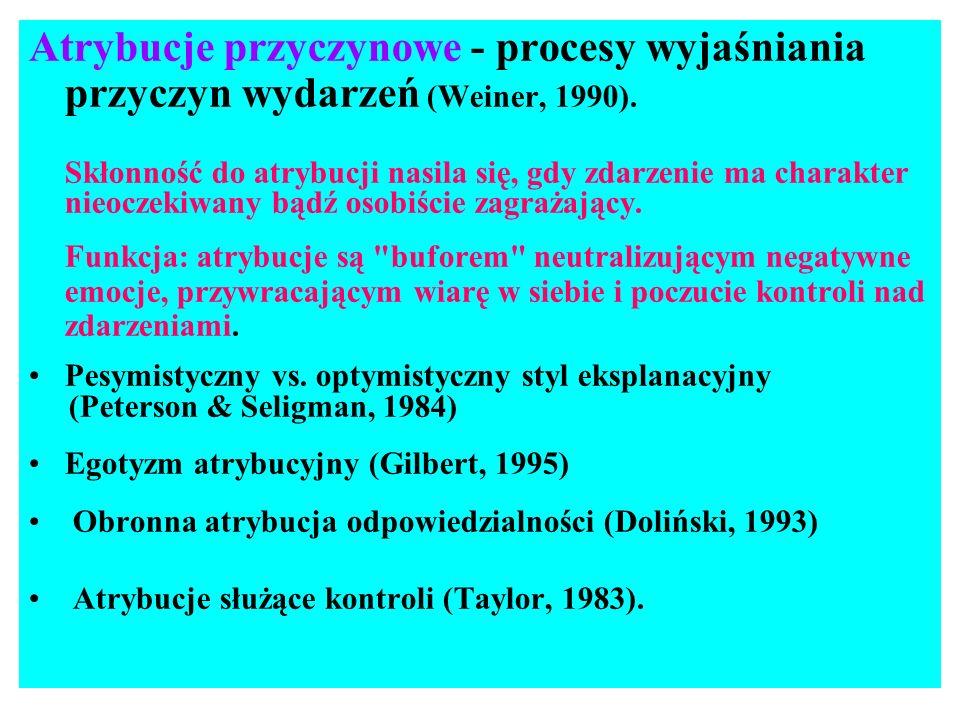 Atrybucje przyczynowe - procesy wyjaśniania przyczyn wydarzeń (Weiner, 1990). Skłonność do atrybucji nasila się, gdy zdarzenie ma charakter nieoczekiw