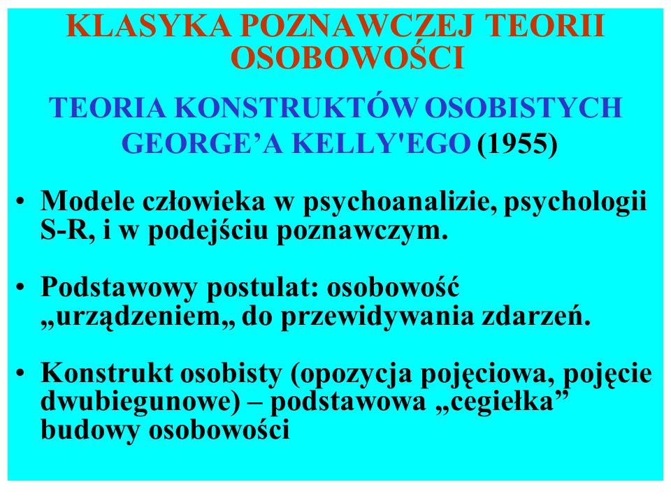 KLASYKA POZNAWCZEJ TEORII OSOBOWOŚCI TEORIA KONSTRUKTÓW OSOBISTYCH GEORGEA KELLY'EGO (1955) Modele człowieka w psychoanalizie, psychologii S-R, i w po