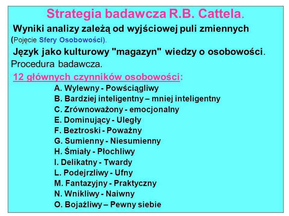 Strategia badawcza R.B. Cattela. Wyniki analizy zależą od wyjściowej puli zmiennych ( Pojęcie Sfery Osobowości). Język jako kulturowy