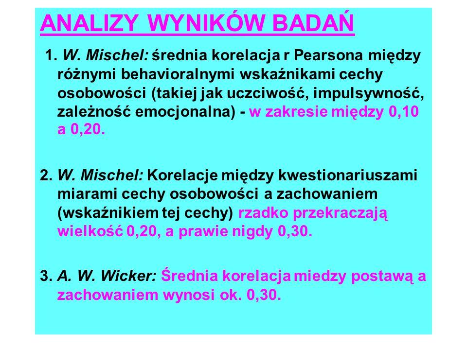 WNIOSKI Z ANALIZ I BADAŃ WŁASNYCH MISCHELA I WICKERA 1.