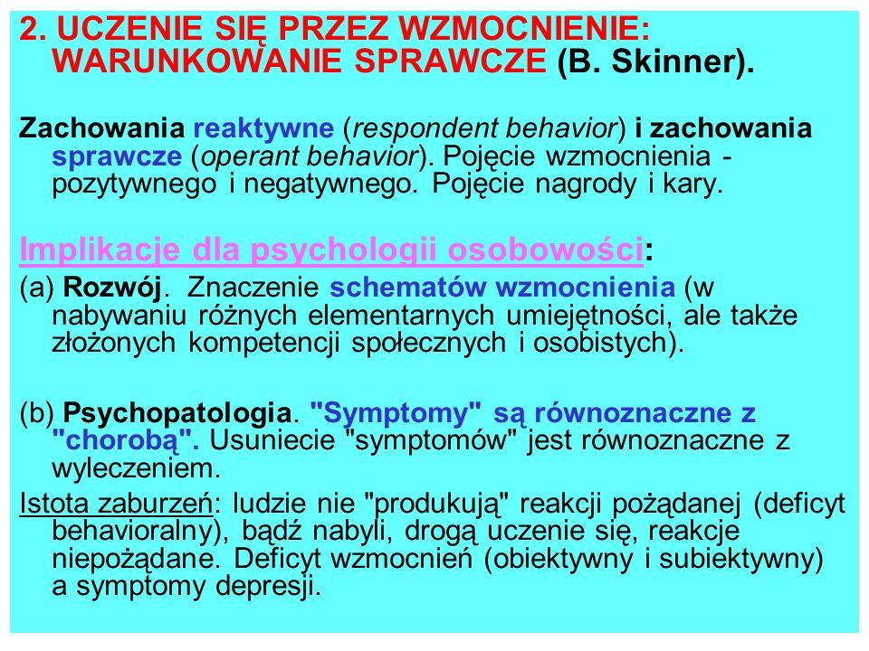 2. UCZENIE SIĘ PRZEZ WZMOCNIENIE: WARUNKOWANIE SPRAWCZE (B. Skinner). Zachowania reaktywne (respondent behavior) i zachowania sprawcze (operant behavi